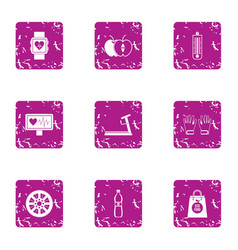 Medical oversight icons set grunge style vector