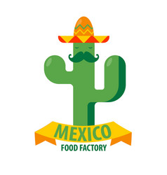 Mexican restaurant icon template of cactus vector