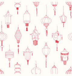 Monochrome seamless pattern with chinese street vector