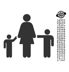 Mother and children icon with professional bonus vector