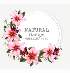 natural vintage greeting card with beautiful pink vector image