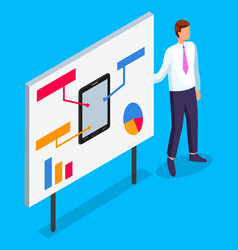 office worker show presentation at board tablet vector image