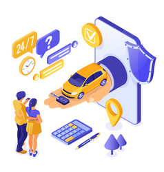 Online sale purchase rental sharing car isometric vector