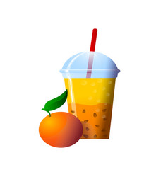Orange smoothies in a cup superfoods and health vector