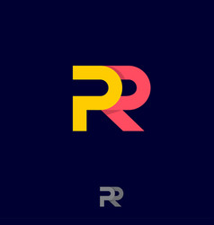 p and r logo public relations emblem ribbons origa vector image