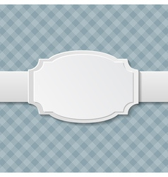 Paper white label on checkered background vector image