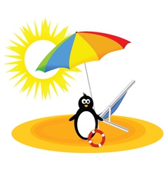 Penguin with umbrella on the beach vector