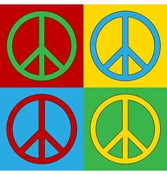 Pop art peace icons vector