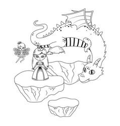 princess fairy and dragon fairytale design vector image