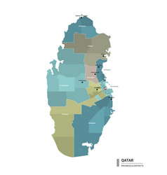 Qatar higt detailed map with subdivisions vector