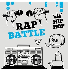 Rap battle hip-hop breakdance music element vector