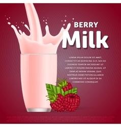 Raspberry sweet milkshake dessert cocktail vector image