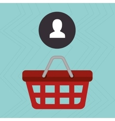 red basket and silhouette head isolated icon vector image