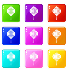 red chinese lantern icons 9 set vector image