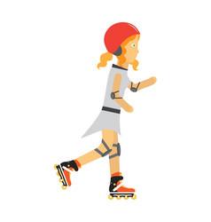 Roller skater girl in flat design vector