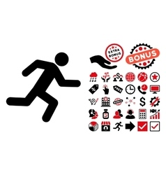 Running Man Flat Icon with Bonus vector