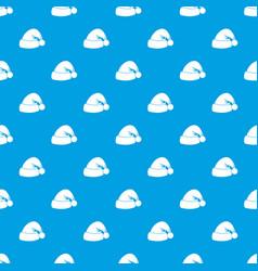 santa hat pattern seamless blue vector image