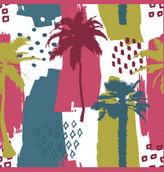 seamless exotic trendy pattern with palm trees vector image