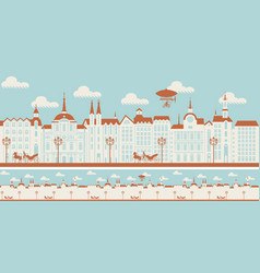 seamless ornament with an old town in retro style vector image
