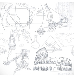 Seamless pattern doodles historic events vector