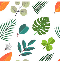 seamless pattern with green palm leaves floral vector image