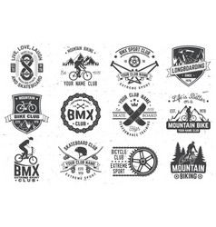 set bmx skateboard and mtb extreme sport club vector image