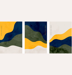 Set minimalist hand painted abstract wavy vector