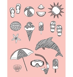 Set of Summer Fun Sketch Scribble Objects vector image