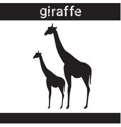 Silhouette giraffe in grunge design style animal vector