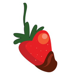 simple cartoon a red strawberry dipped in vector image