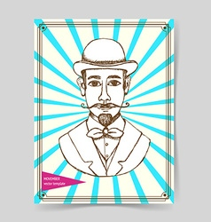 Sketch man in hat vector