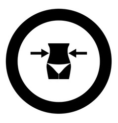 slimming woman concept black icon in circle vector image