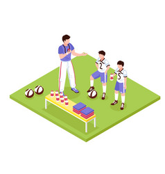 Sport kids isometric composition vector