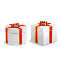Square and round gift boxes isolated on white vector image vector image