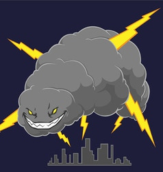 Storm Cloud Attacking A City vector image