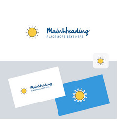 sun logotype with business card template elegant vector image