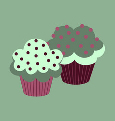 Sweet dessert in flat design cupcakes vector