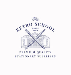 The retro school suppliers abstract sign vector