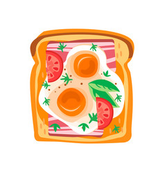 toasted bread slice with fried eggs fresh vector image
