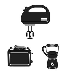 Types of household appliances black icons in set vector