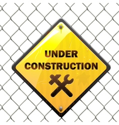 Under Construction Sign with Mesh vector