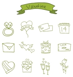 Valentine day icons with gift love rose vector