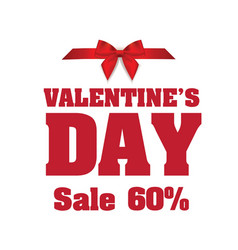 valentines day sale 60 ribbon image vector image