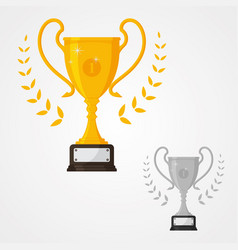 winner solid trophy icon with number one vector image