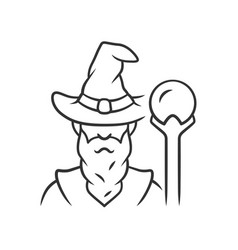 wizard linear icon thin line sorcerer magician vector image