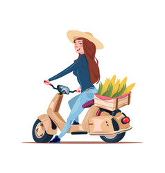 Woman farmer riding electric scooter with harvest vector