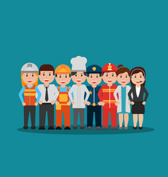 workers people group different occupation set vector image