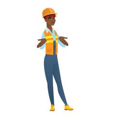 african confused builder shrugging shoulders vector image vector image