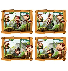 Four frames of monkeys by the cave vector image vector image