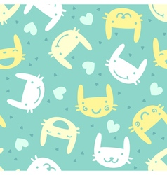 seamless pattern with cute bunny emotions vector image vector image